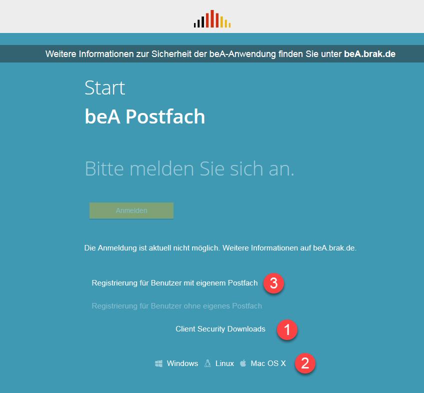 Reduzierter Startbildschirm zum Neustart des beA